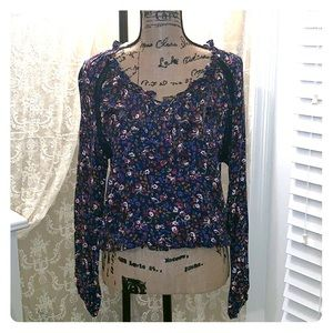 Floral design top with long sleeves